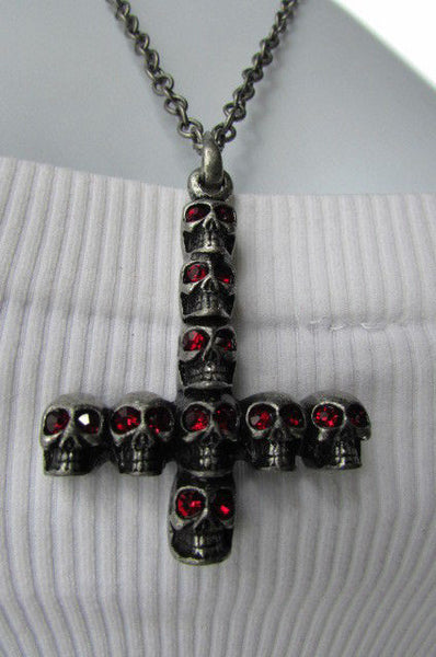 "Biker Fashion 14"" Long Necklace Rusty Silver Chain Skulls Cross Rocker Upside Down New Men Style - alwaystyle4you - 11"