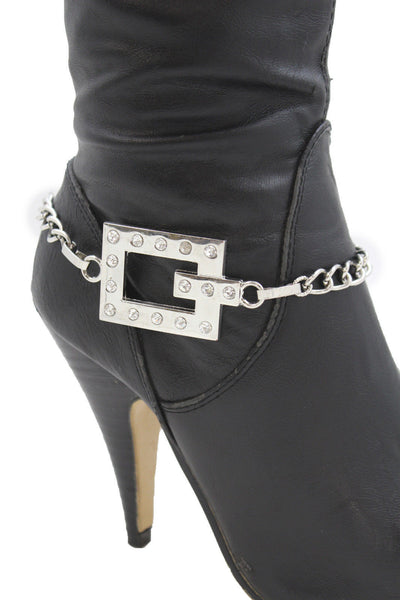Silver Boot Chains Bracelet Beaded Square Anklet Shoe Bling Charm New Women Fashion Accessories - alwaystyle4you - 8
