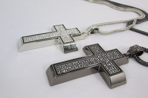 Pewter / Silver Metal Chains Long Necklace Boarded Cross Pendant New Men Hip Hop Fashion - alwaystyle4you - 11
