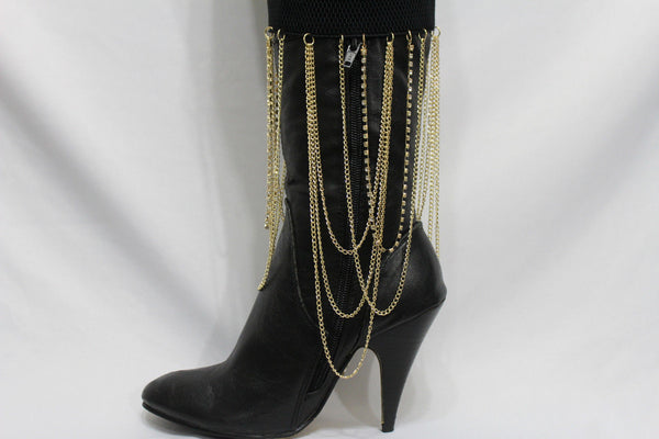 Gold Metal Boot Bracelet Chain Long Drop Bling Anklet Elastic Band New Women Western Hot Accessories - alwaystyle4you - 6