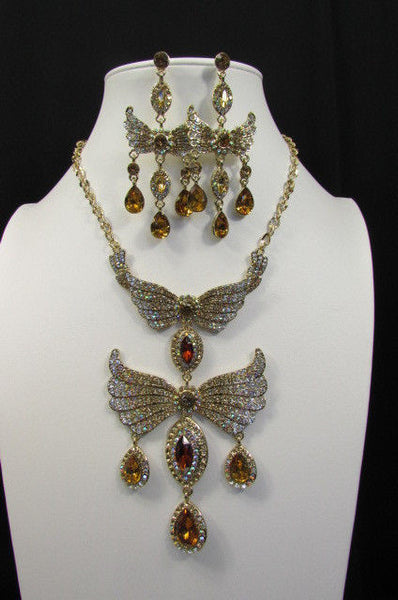 Metal Flying Wings Gold Silver Rhinestones Necklace + Earrings set New Women Fashion - alwaystyle4you - 11