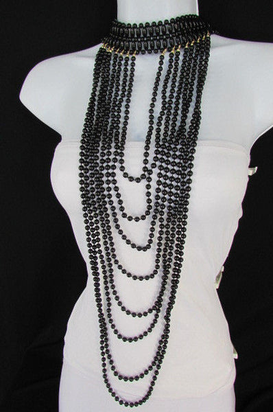 Black / White Metal Beads Extra Long 8 Strands Choker Necklace New Women Fashion - alwaystyle4you - 14