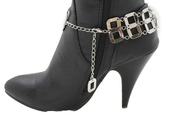 Silver Metal Boot Chains Bracelet Sqaure Geometric Anklet Bling Shoe Charm New Women Western Fashion - alwaystyle4you - 3