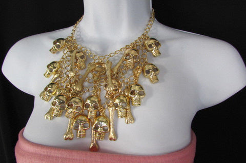 Gold Chains Skulls Strands Skeleton Bones Necklace + Earrings Set New Women Fashion - alwaystyle4you - 6