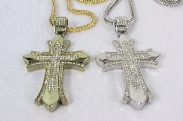 "Silver / Gold Metal Chain 35"" Long Fashion Necklace  Large Cross Pendant New Men - alwaystyle4you - 13"