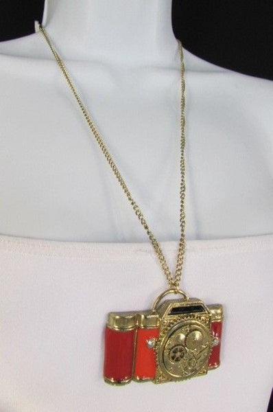 Old Fashion Collector Camera Red Orange Long Rusty Gold New Women Necklace - alwaystyle4you - 11