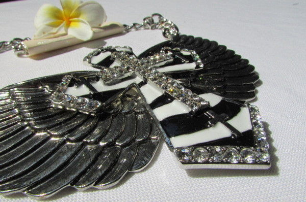 Big Bow Zebra Angel Wings Pendant Black Cross Stripes Rhinestones New Women - alwaystyle4you - 8
