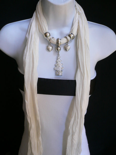 New Women Fashion Snow Christmas Tree Stars Pendant White Long Scarf Necklace - alwaystyle4you - 4