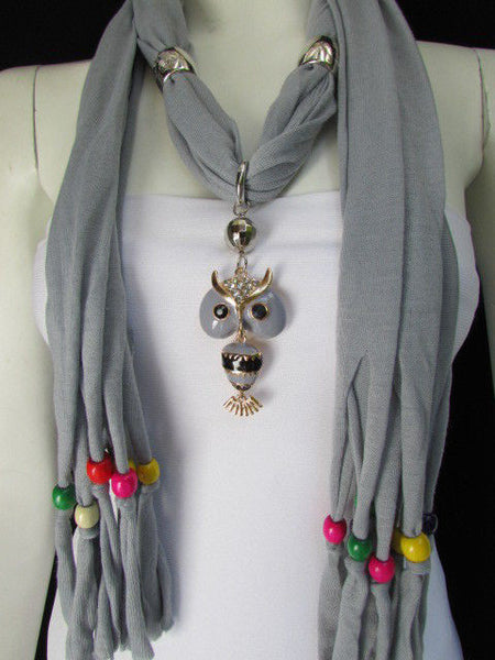 Black, Blue, Beige, Gray, White Soft Scarf Long Necklace Multicolors Wood Beads Owl Pendant New Women Fashion Accessory - alwaystyle4you - 6