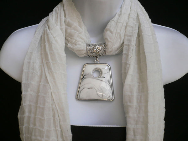 White Soft Viscose Scarf Necklace Big Square Bead Pendant New Women Fashion Accessories