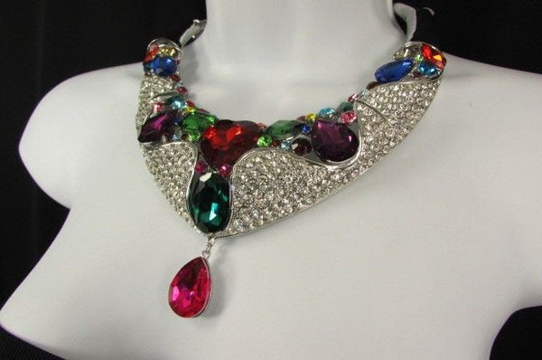 Silver Metal Multicolor Alloy Charm Bib Necklace New Women Fashion Jewelry - alwaystyle4you - 8