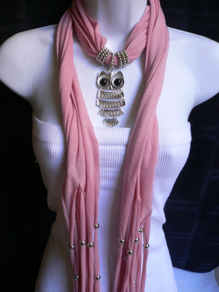 New Women Long Beige / Pnk Soft Scarf Fashion Necklace Silver Owl Pendant Rhinestones - alwaystyle4you - 14