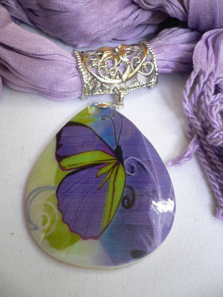 Lavender Scarf Necklace Big Seashell Pendant Purple Butterfly New Women Fashion Accessories
