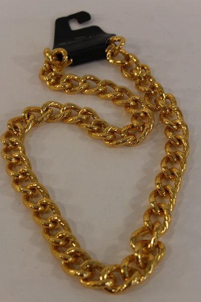 Gold Metal Thick Chain Links Heavy Long Chunky Necklace New Men Biker Fashion Accessories