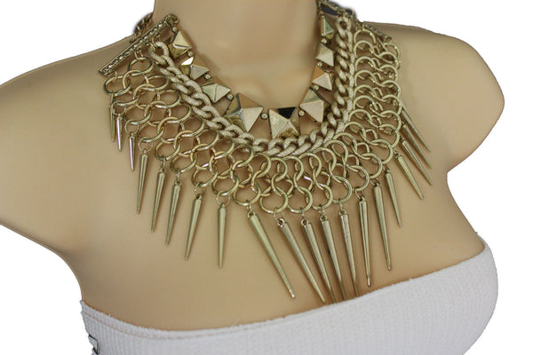 Gold / Black Gold Long Metal Chain Strand Spikes Charm Necklace + Earring Set New Women Fashion Jewelry - alwaystyle4you - 6