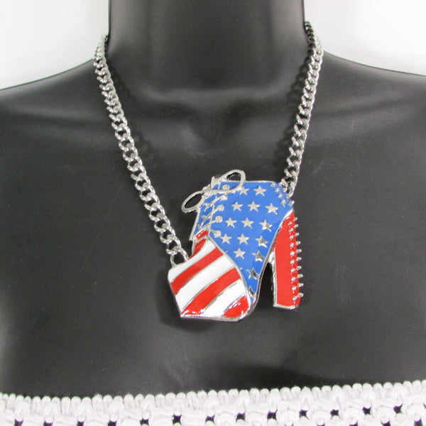 Large Metal High Heels Shoes Pendant Fashion Chains Gold / Silver Rhinestones American Flag USA Stars Necklace + Earrings Set - alwaystyle4you - 11