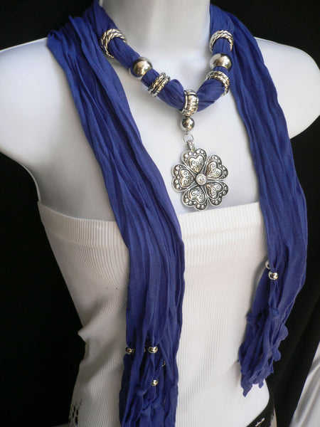 Blue Light Blue Black Dark Brown Light Pink Coral White Soft Scarf Necklace Heart Flower Silver Pendant New Women Fashion 6 Different Colors - alwaystyle4you - 18