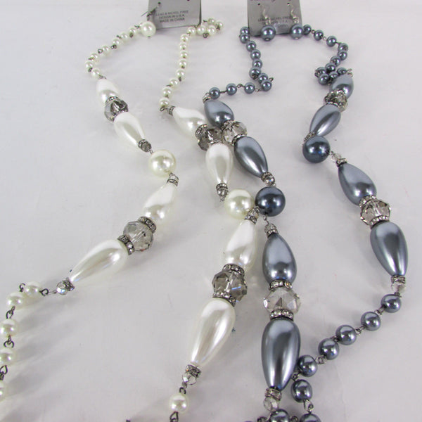 Long Imitations Pearls Necklace Small Gray Beads Beige Silver Color + Earrings Set New Women Fashion - alwaystyle4you - 6