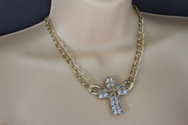 Short Gold / Silver Metal Chains Cross Pendant Necklace + Earring Set New Women Fashion Jewelry - alwaystyle4you - 7