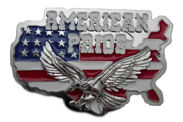 Men Western Fashion Belt Buckle Silver Metal USA Flag American Pride Eagle State - alwaystyle4you - 7