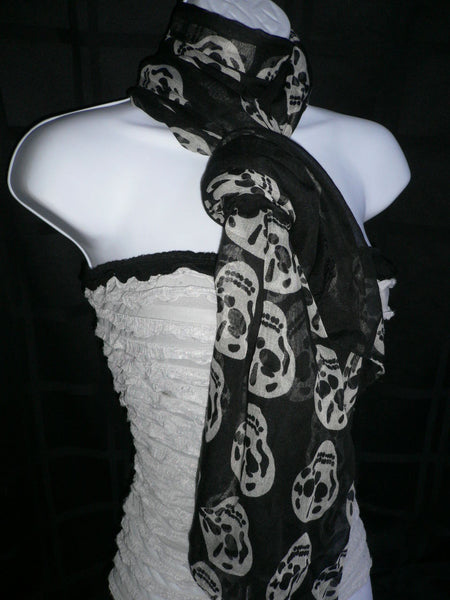 New Women Black Scarf Gray Beautiful Skulls Skeleton Drawing Soft 100% Polyester - alwaystyle4you - 6