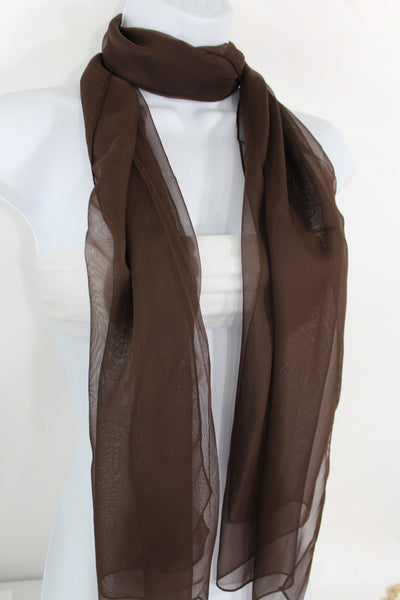 Dark Brown Dark Green Dark Blue Brown Neck Scarf Long Soft Sheer Fabric Tie Wrap Classic New Women Fashion - alwaystyle4you - 6