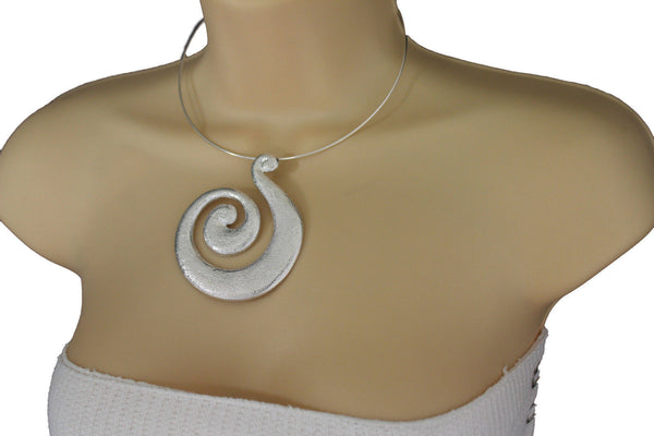 Silver / Pewter Black Choker Thin Metal Snail Spin Swirl Charm Necklace + Earrings Set New Women Fashion Jewelry - alwaystyle4you - 6