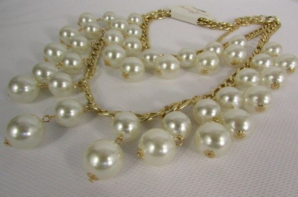 Gold Metal Long Double Chains 2 Strands Big Pearl Beads New Women - alwaystyle4you - 4