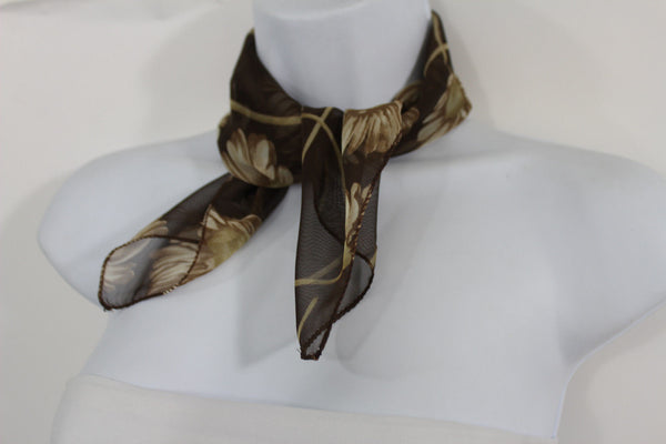 Dark Green Brown Small Neck Soft Scarf Fabric White Flower Pocket Square New Women Fashion - alwaystyle4you - 6