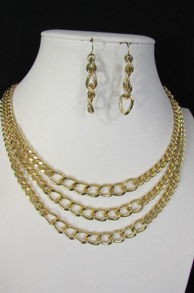 Gold Three Thick Chains Links Strands Necklace + Earrings Set New Women Trendy Fashion - alwaystyle4you - 11