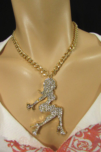 Gold Metal Chains Fashion Necklace Big Silver Rhinestone Sexy woman Shape Pendant New Men Fashion - alwaystyle4you - 7