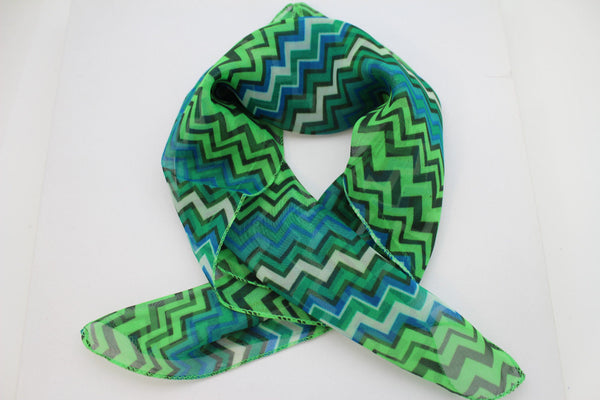 Bright Green Neck Scarf Fabric Black Chevron Print Pocket Square New Women Accessories Fashion - alwaystyle4you - 3
