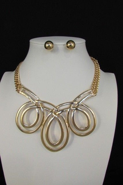 Gold / Silver Twisted 3 Drops Chain Necklace + Earring Set New Women Chunky Fashion - alwaystyle4you - 6