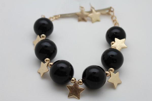 Black / Silver / Gold / Red / White Metal Stars Ball Beads Short Ivory Necklace + Earring Set New Women Fashion Jewelry - alwaystyle4you - 22