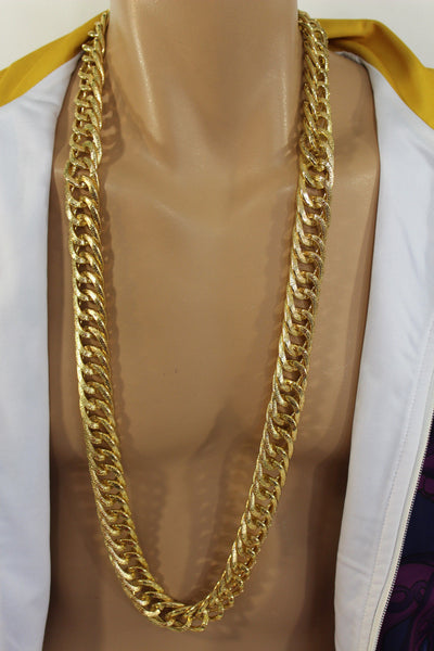 Gold Metal Chain Links Extra Long Necklace New Men Chunky Gangster Hip Hop Biker Fashion - alwaystyle4you - 15