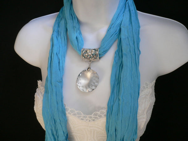 Light Blue Necklac Scarf Big Silver Crystal Flower Pendant Glass New Women Fashion - alwaystyle4you - 9