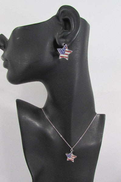 USA American Flag Star/Square/Heart Silver Metal Necklace + Matching Earring Set New Women - alwaystyle4you - 13