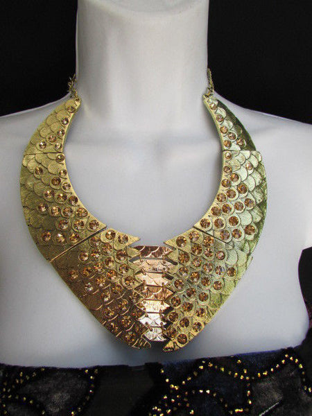 Gold /  Silver Metal Plates Snake Skin Rhinestones Necklace + Earrings Set New Women Fashion - alwaystyle4you - 7