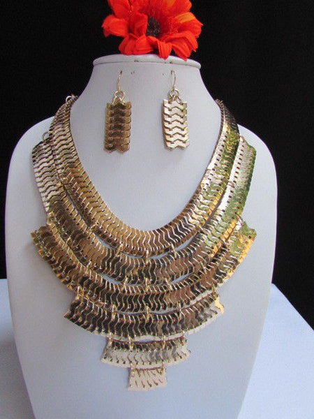 Wide 6 Strands Gold Links Chains Metal Statement Necklace + Matching Earrings Set New Women - alwaystyle4you - 1