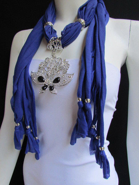 Black Blue Purple Pink Brown Dark Gray Red Bright Coral Green Soft Fabric Scarf Necklace Silver Flowers Butterfly Pendant New Fashion Accessory - alwaystyle4you - 61