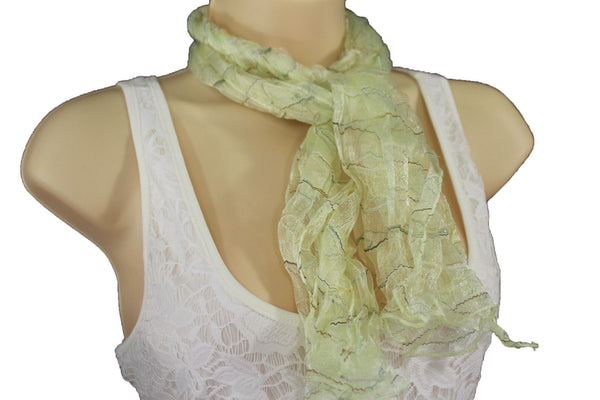 New Women Sheer Scarf Fashion Neck Wrap Long White Black Pink Blue Green Yellow - alwaystyle4you - 63