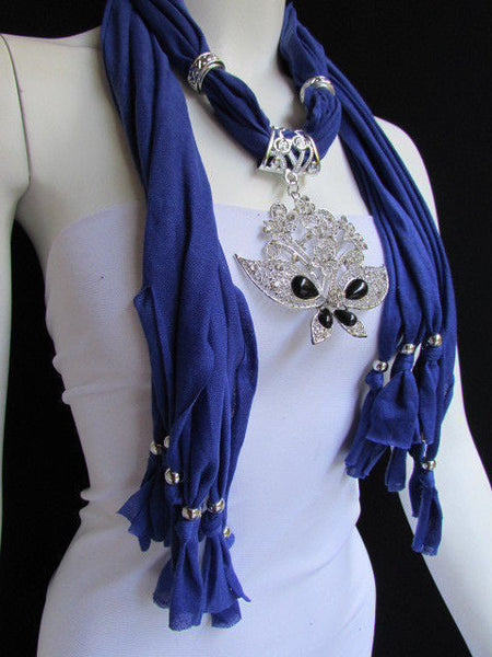 Black Blue Purple Pink Brown Dark Gray Red Bright Coral Green Soft Fabric Scarf Necklace Silver Flowers Butterfly Pendant New Fashion Accessory - alwaystyle4you - 63