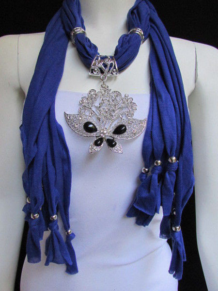 Black Blue Purple Pink Brown Dark Gray Red Bright Coral Green Soft Fabric Scarf Necklace Silver Flowers Butterfly Pendant New Fashion Accessory - alwaystyle4you - 65