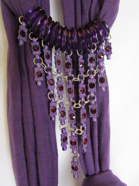 Black White Blue Purple Light Pink Lavander Lime Green Soft Scarf Long Necklace Triangle Big Rhinestones Pendant Women Fashion - alwaystyle4you - 20