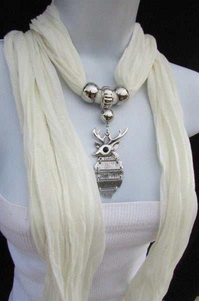 Green  / Red / White / Blue / Beige / Pink / Mustard Long Soft Scarf Necklace Silver Metal Deer Head Pendant For Christmas New Women Fashion - alwaystyle4you - 18