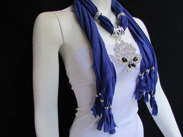 Black Blue Purple Pink Brown Dark Gray Red Bright Coral Green Soft Fabric Scarf Necklace Silver Flowers Butterfly Pendant New Fashion Accessory - alwaystyle4you - 66