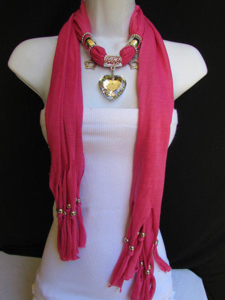 Pink Bowen Soft Fabric Scarf Necklace Silver Big Heart Crystal Stars Pendant New Women Fashion - alwaystyle4you - 13