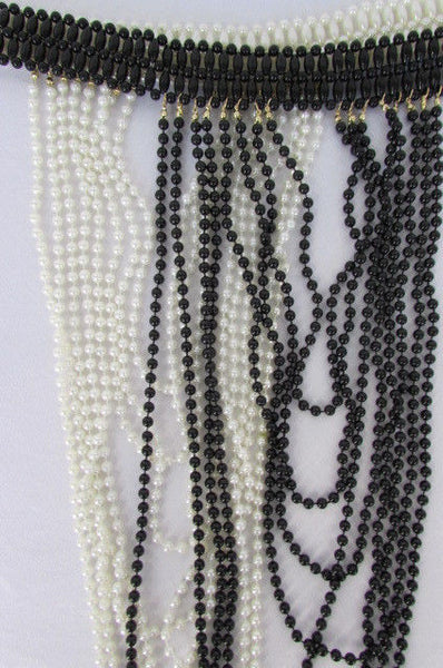 Black / White Metal Beads Extra Long 8 Strands Choker Necklace New Women Fashion - alwaystyle4you - 15