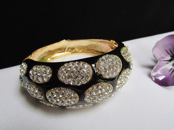 Gold Metal Wide Bracelet Black Animal Print Silver Rhinestone New Women Fashion Jewelry Accessories - alwaystyle4you - 9