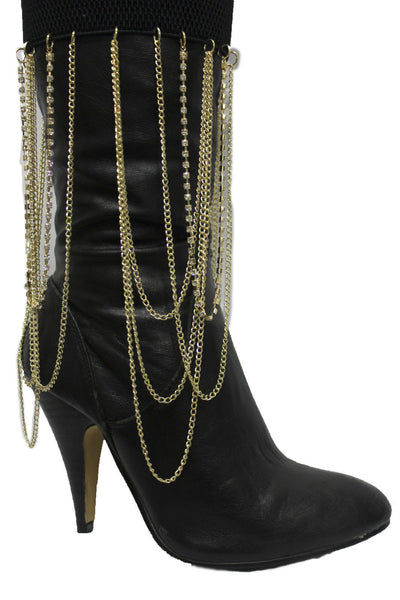 Gold Metal Boot Bracelet Chain Long Drop Bling Anklet Elastic Band New Women Western Hot Accessories - alwaystyle4you - 7
